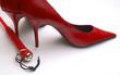 erotic red high heels and crop