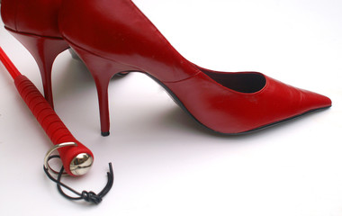 erotic red high heels and crop