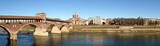 ponte vecchio panorama, pavia, italy poster