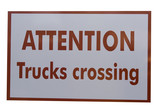 road warning sign for trucks crossing poster