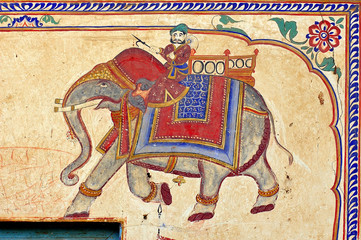 india, mandawa: colourful frescoes  on the walls