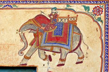 india, mandawa: colourful frescoes  on the walls