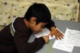 kid doing homework poster