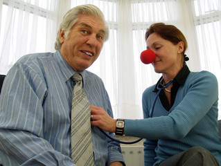 doctor with red nose