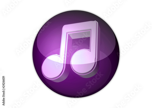 music note icon 3d aqua button