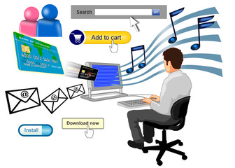 man typing with search bar music email cart
