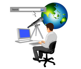 man typing search bar globe