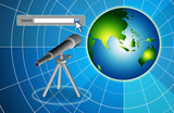 search bar telescope and earth on blue bg poster