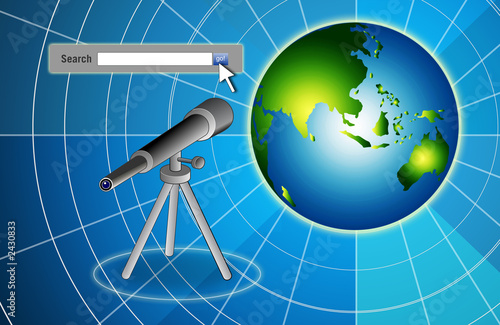search bar telescope and earth on blue bg
