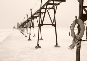 lifebuoy in winter sepia