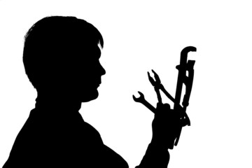 black silhouette man hold instrument