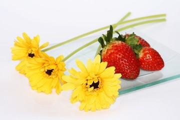 flower and strawberries
