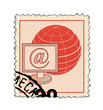 stamp with monitor and globe red