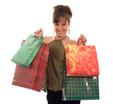 girl, showing the shopping bags poster