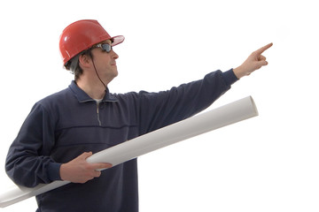 engineer, pointing with finger