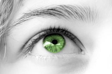 oeil vert de femme , regard rêveur