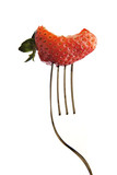 strawberry with a bite out of it poster