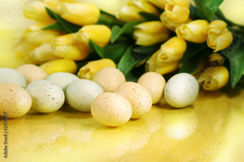 yellow tulips  and easter eggs