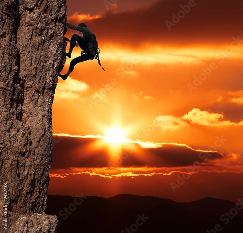 canvas print motiv - Galyna Andrushko : climber on sanset