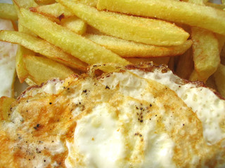 delicious fried eggs with chips