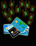 bugs attacking credit card on black poster
