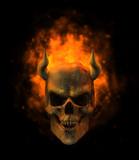 flaming demon skull poster