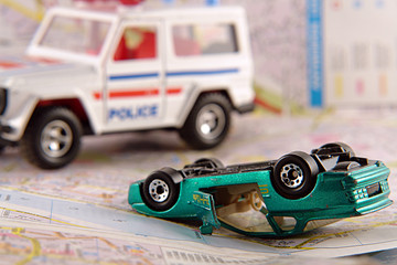 car crash and police rescue team