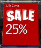 sign. life cover sale. 25% off poster