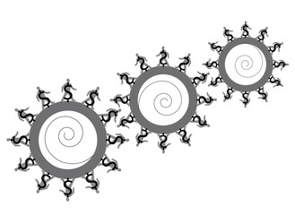 three cogs business concept