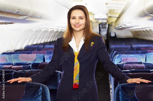 Leinwanddruck Bild air hostess (stewardess)