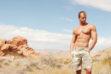 muscular man in shorts