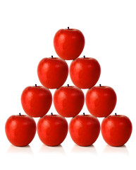 red apples on a pyramid shape