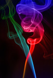colored smoke on black background poster