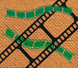brown texture and film strip poster