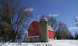 old red barn panoramic view poster