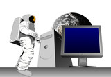 astronaut with computer and moon poster