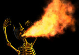 fire breathing demon skeleton poster