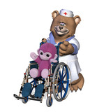 nurse bear with patient in wheelchair poster