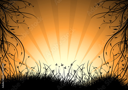 Leinwanddruck Bild abstract natural decorative sunset background vector illustratio