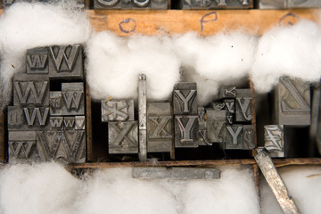 mixed letterpress type blocks