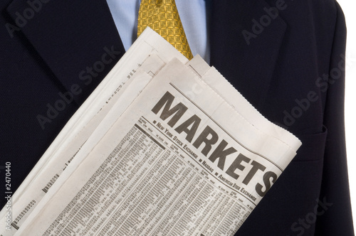 poster of business man carrying newspaper