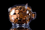 clear piggy bank full of american pennies poster