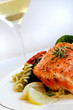salmon, pasta salad and white wine