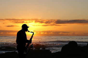 sunset sax player