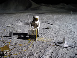 astronaut collecting lunar artifacts