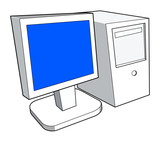 computer with monitor iso right poster
