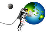 astronaut with laptop earth and moon