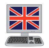 computer monitor with british flag poster