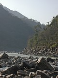 view at river ganges in india poster