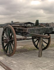 ancient handcart in amsterdam harbor